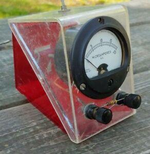 Vintage-WESTON-Model-206-MICROAMPERES-Panel-GAUGE-in-Store-Work-DISPLAY-CASE