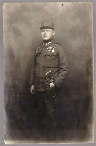 WW1-OFFICER-AUSTRO-HUNGARIAN-MEDALS-RECIPIENT-HERO-ANTIQUE-RPPC-PHOTO-POSTCARD