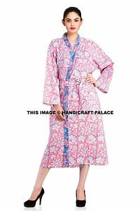 03d7981d62 Image is loading Floral-100-Cotton-Summer-Bath-Robe-Dressing-Gown-