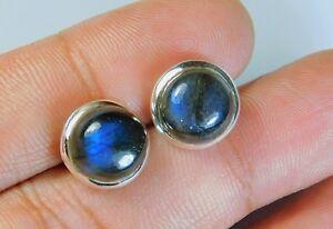 Elegant-Pure-925-Solid-Sterling-Silver-Stud-Earrings-Flashy-Labradorite-Gemstone