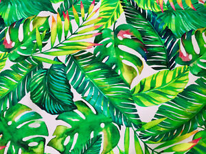 Banana Tropical Leaves Palm Leaf Cotton Fabric Curtain