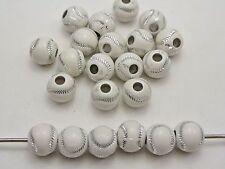 100 White Acrylic Sparkling Silver Baseball Pattern Round Ball Beads 12mm