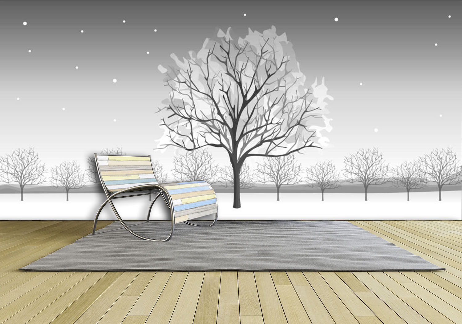 3D Snow, one tree 00 Wall Paper Print Wall Decal Deco Indoor Wall Murals
