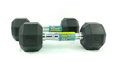 30lb Dumbbell Rubber Coat Hex Dumbbell Weightlifting Weights Ignite By Spri