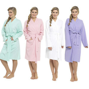 Ladies Lightweight Summer Waffle Bath Robe 100% Cotton Dressing ...