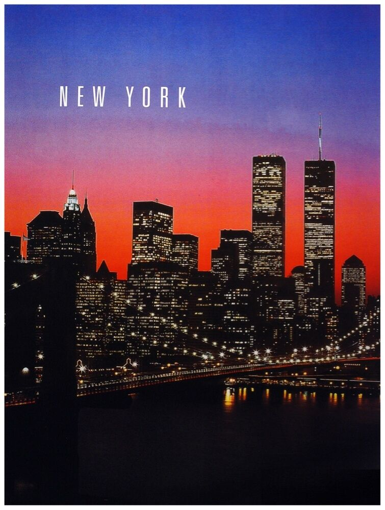9795.New York.Panoramic view of city at night.POSTER cor Home Office art