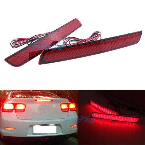 2x Red LED Lens Rear Bumper Reflector Brake Light for Chevrolet Malibu 2012-2015