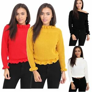 751756e6cd2 Ladies Long Sleeve High Neck Knitted Ruffle Frill Hem Sweaters Crop ...