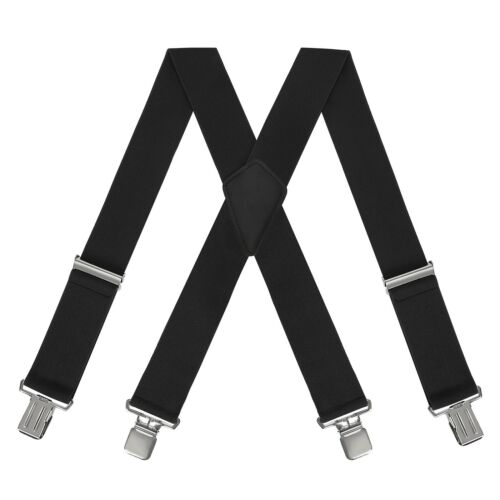"Mens Heavy Duty Suspenders Adjustable Clip On Work Braces 2/"" Wide Solid Color"
