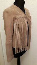 designer soft suede leather tassle jacket size S or UK 10 new with tags