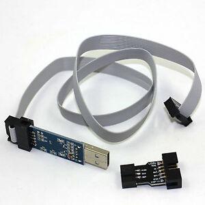 AVR-10-Pin-USB-Programmer-5V-51-ATMEGA8-w-Cable-amp-adapter-USBasp-USBISP