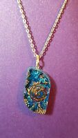 Orgone Pendant Necklace Shaped Blue Onyx Reiki Pendant On An 18 Chain M4