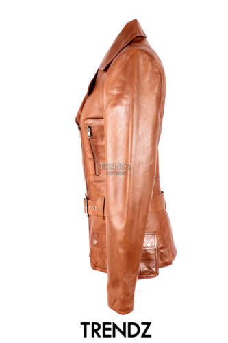 Soft Leather 2812 Tan Jacket Military Ladies Orchid Real Style Lambskin New xFR0n7qwgT