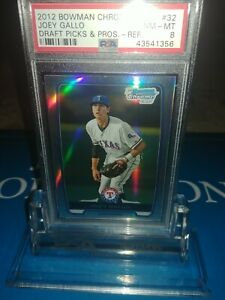 PSA-8-MINT-2012-BOWMAN-CHROME-BDPP32-JOEY-GALLO-ROOKIE-REFRACTOR-RANGERS