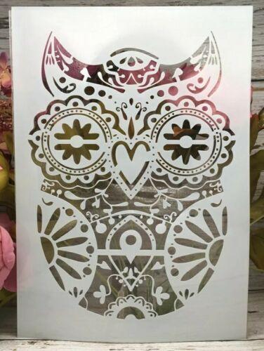 A4 OWL STENCIL-REUSABLE MANDALA TEMPLATE-PLASTIC-WALL//CRAFT//PAINTING//WOODLAND