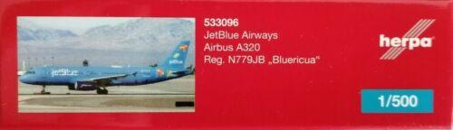 "533096  JetBlue Airbus A320 N779JB /""Bluericua/"" Herpa Wings 1:500"