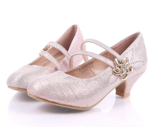 Cute Girls Elastic Strap Flower Rhinestone Kids Kitten Heels Youth Dress Shoes