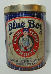 Antique-Vintage-1930s-BLUE-BOY-FRUITS-ADVERTISING-TIN-30-POUND-OAKFIELD-NEW-YORK