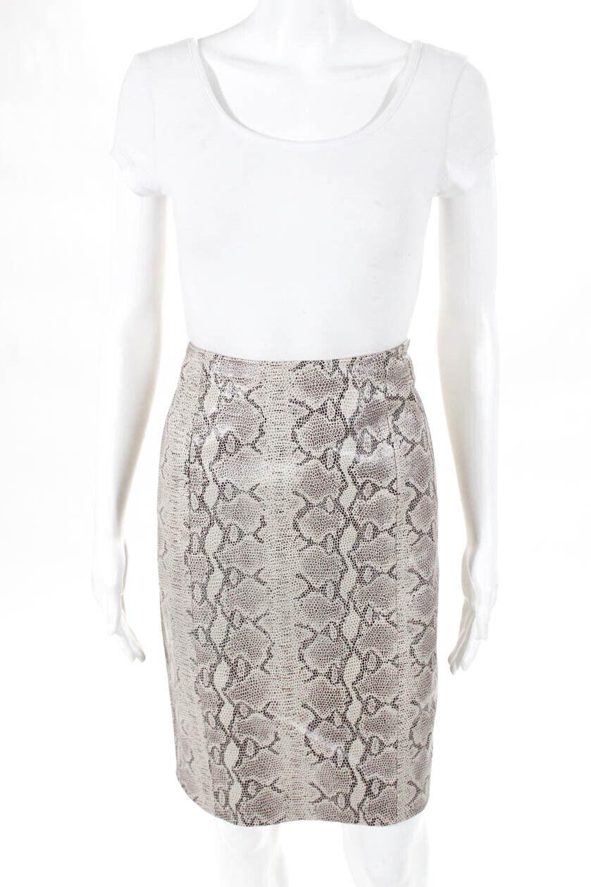 Dana Buchman Women Knee Leather Animal Print Snakeskin Skirt Beige size 6 M