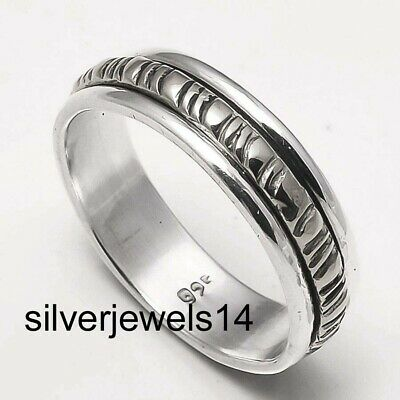 Solid 925 Sterling Silver Brass Meditation Statement Spinner Ring Jewelry ss368