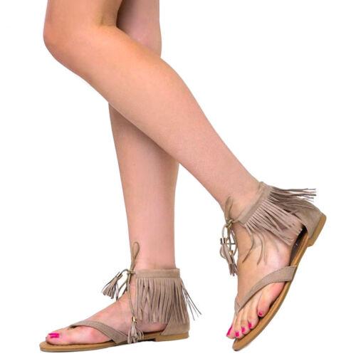 New Thong Open Toe Vegan Suede Fringe Cuff Flat Gladiator Sandals Tassel Lace Up