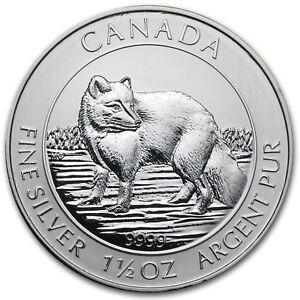 2014 $8 Silver Canadian Arctic Fox 1.5 oz .9999 fine Silver RCM