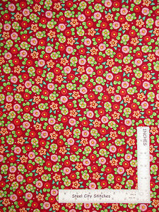 Christmas-Peppermint-Button-Flowers-Red-Cotton-Fabric-QT-Mary-Engelbreit-Yard