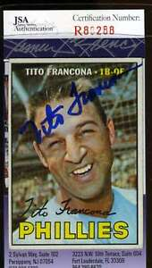 Tito-Francona-1967-Topps-Jsa-Coa-Hand-Signed-Authentic-Autographed-Phillies