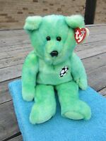 Ty Beanie Buddy - Kicks Green Soccer Bear Flag 14 Long, 9 Sitting - Tags 1999