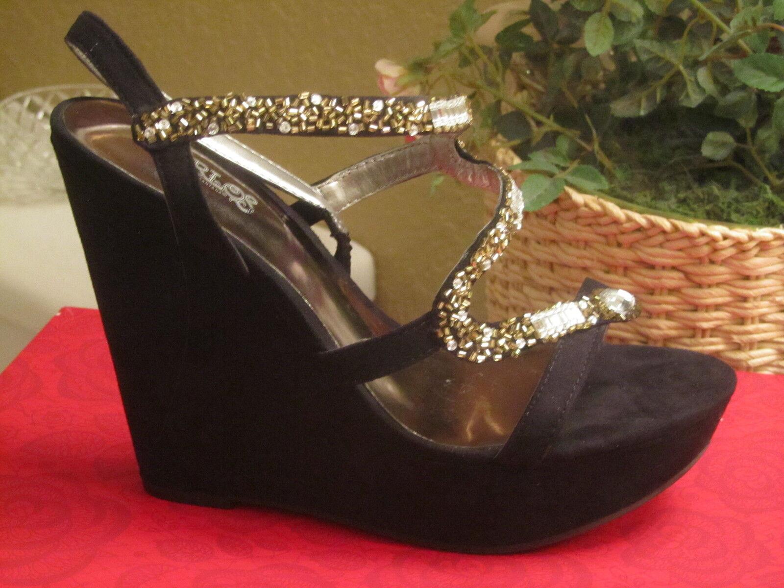 prezzi bassi di tutti i giorni CARLOS SANTANA  NWT  85 85 85 7.5 nero oro Donna scarpe wedge disco  100% di contro garanzia genuina