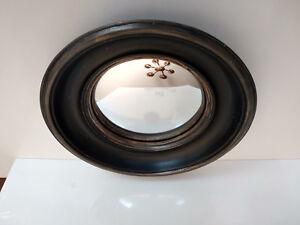 Miroir-convexe-dit-034-oeil-de-sorciere-034-style-vintage-Noir-patine-Diam-23cm