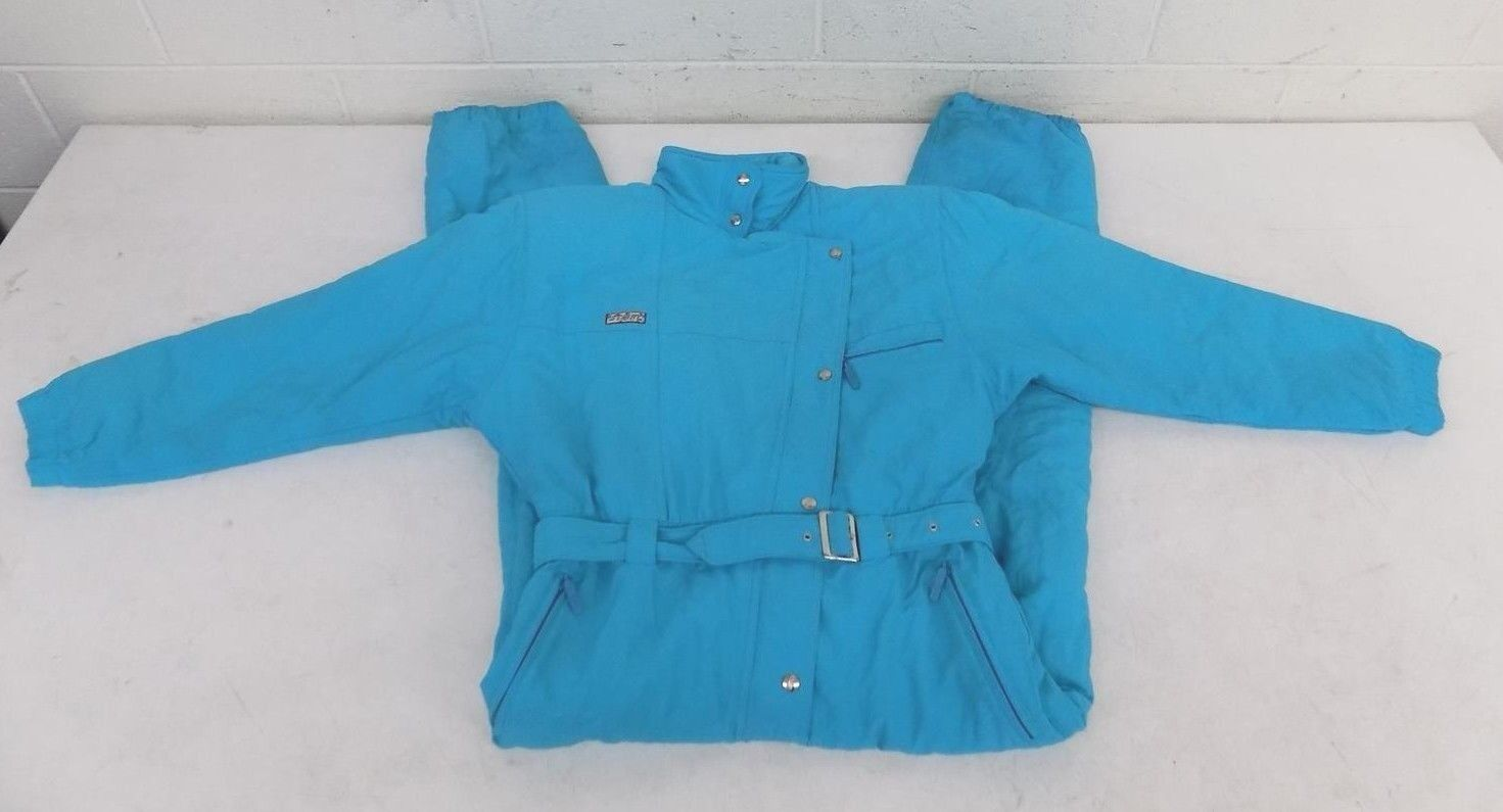 Vintage Arctic Story Race Fully  Insulated Teal Ski Snowsuit w Shoulder Pads US 8  free shipping