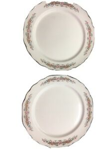 2-VTG-Lido-W-S-George-Lido-White-Pink-Rose-9-5-034-Dinner-Plates-Shabby-Cottage
