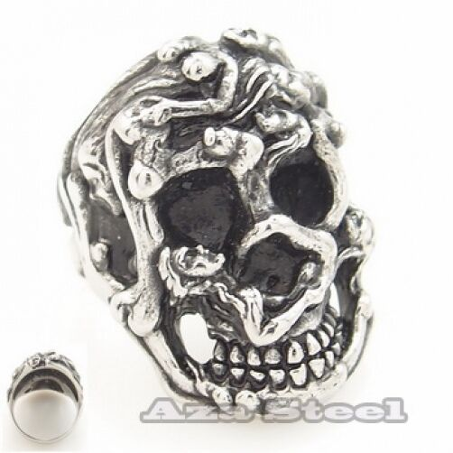 Men's Horror Naked Bodies Skull Stainless Steel Biker Ring US Size 8, 9,10,11,12