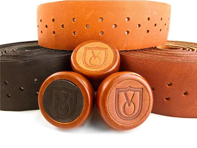 Velo orange Leather Handlebar tape with wooden bar end plugs Honey