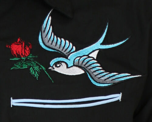 Relco esclusivo Tatuaggio Rockabilly Cowboy Western ingoiare ROSE RICAMATO Camicia