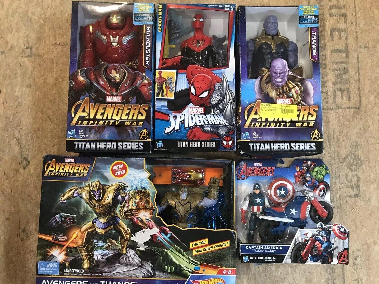 LOT of 5 Marvel Toys Avengers Spiderman Titan Hero Captain America Thanos NEW