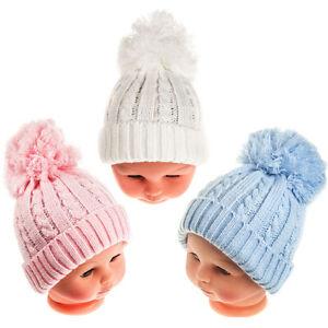 BABY KNITTED POM POM HAT BOBBLE WHITE PINK BLUE BOYS GIRLS 0-6 MTHs ... 95014d0d953