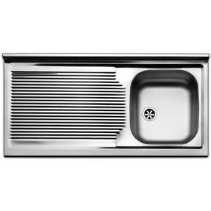 Lavello lavandino cucina inox appoggio da mobile cm 100 x 50 ala Sx ...