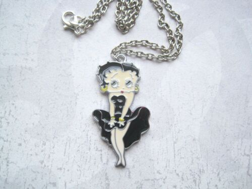BETTY BOOP MARILYN MONROE POSE Enamel Necklace Black Red Pin Up Tattoo