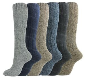 6-Pairs-Mens-Long-Length-Thermal-Boot-Socks-Wool-Blend-Long-Hose-Cushioned-Sole