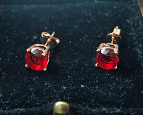 Vintage Style Jewellery Ruby Earrings 18K Rose Gold Plated