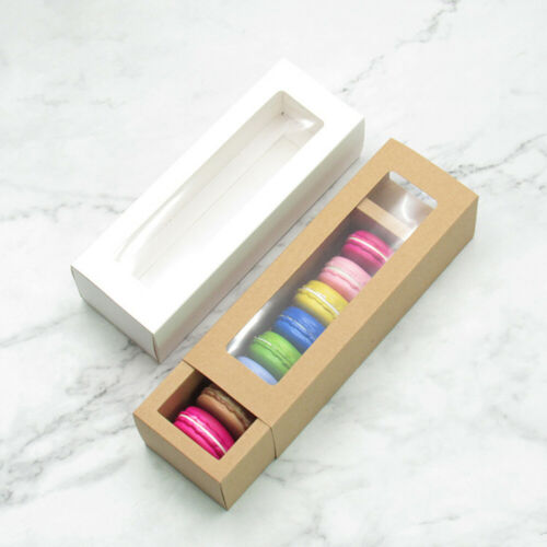 10 pcs Macaron Boxes Dessert Containers Cake Carriers Packaging Box for Biscuits