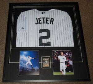 Details About Derek Jeter Signed Framed 33x36 Rookie Card Jersey Photo Display Jsa Yankees