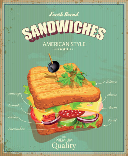 SANDWICHES CAFE BAR FAST FOOD AMERICAN DINER VINTAGE METAL SIGN RETRO PLAQUE