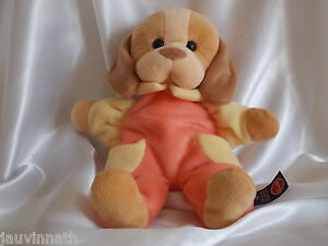 Doudou-chien-ecru-beige-orange-et-jaune-Trudi