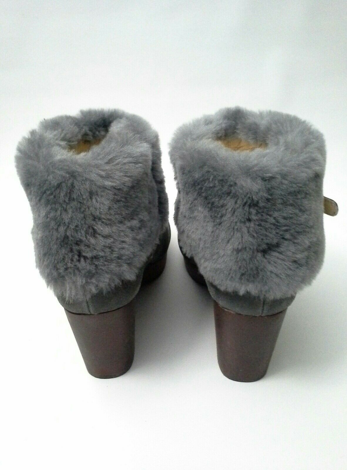 Anthropologie Anthropologie Anthropologie Seth Clog Platform Booties Suede Faux Fur Grau Größe 6.5 1cc4a2