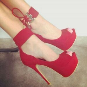 Women-039-s-Ankle-Strap-Super-High-Heels-Peep-Toe-Pumps-Strappy-Sandals-Party-Shoes