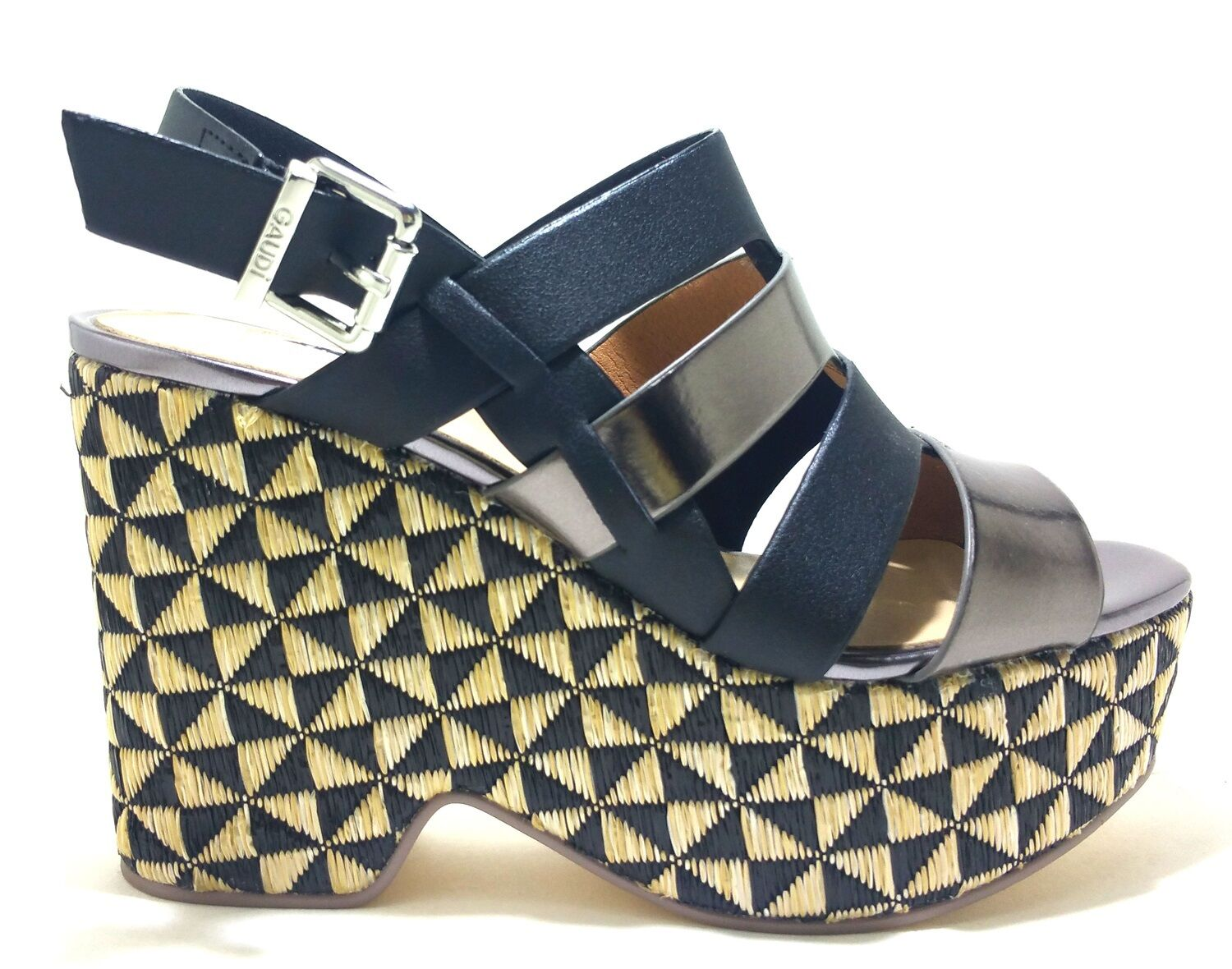 Gaudi Melly v73 65372 shoes High Wedge Sandals Womens Casual Leather Fabric Heel