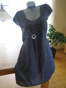 Leinenkleid Kleid Punkte DOTS Leinen NAVY blau XL 42 Damen ...